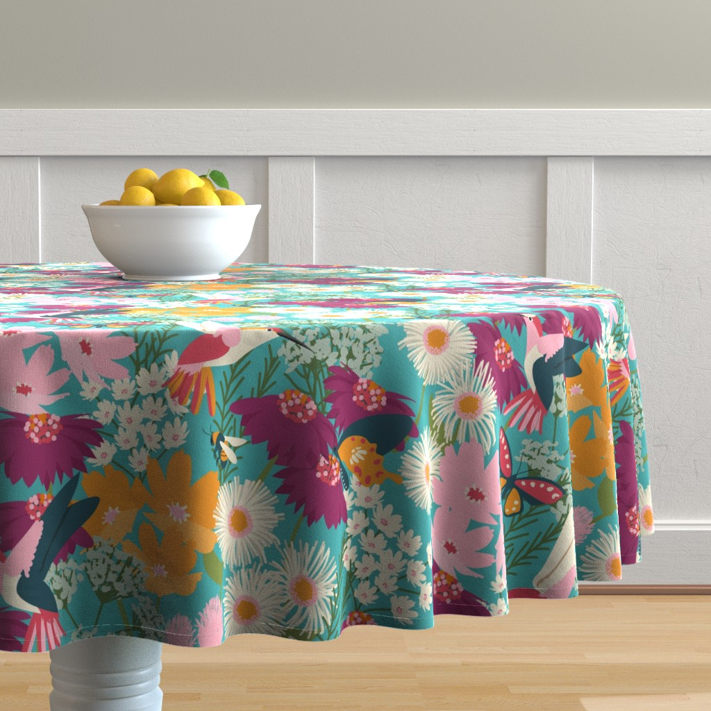 Malay Round Tablecloth featuring Pollinator Garden-Medium Scale by jenflorentine