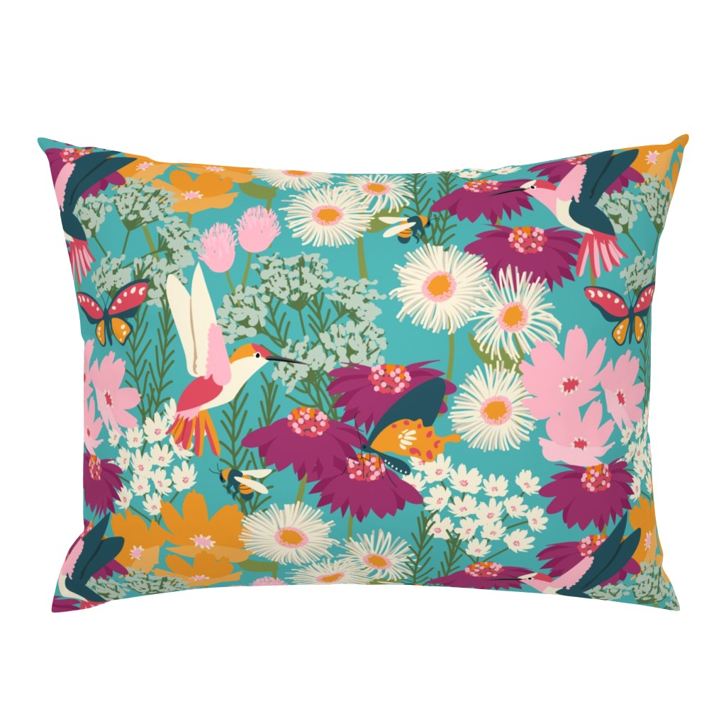 Campine Pillow Sham featuring Pollinator Garden-Medium Scale by jenflorentine