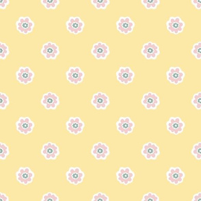 Blooming Flowers Daisy Style Seamless Pattern