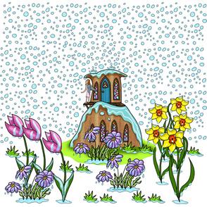 April Showers Tiny Fairy House