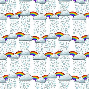 Rain Clouds Raindrops and Rainbows