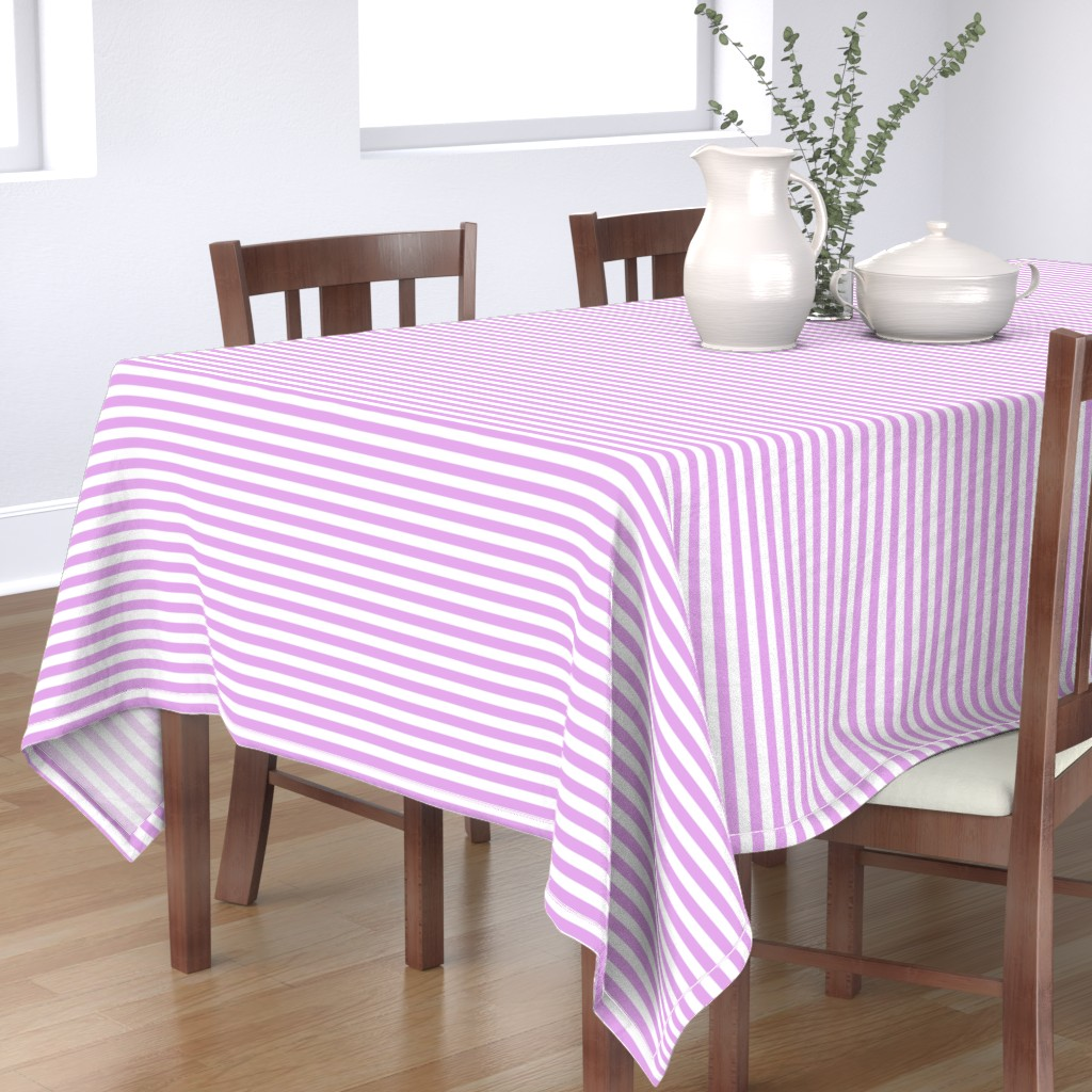 Bantam Rectangular Tablecloth featuring Blush Pink and White ½ inch Picnic Horizontal Stripes by paper_and_frill