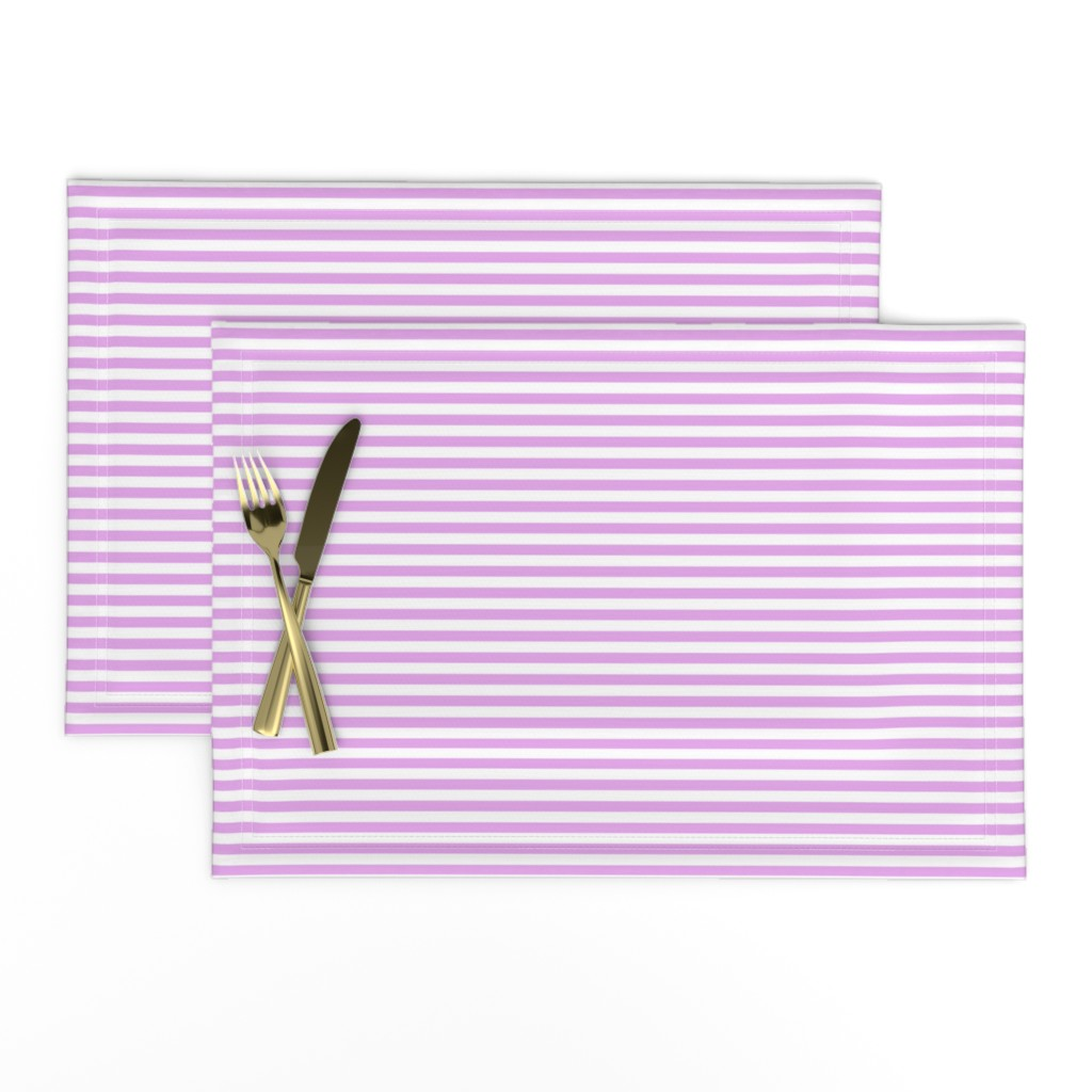 Lamona Cloth Placemats featuring Blush Pink and White ¼ inch Sailor Horizontal Stripes by paper_and_frill