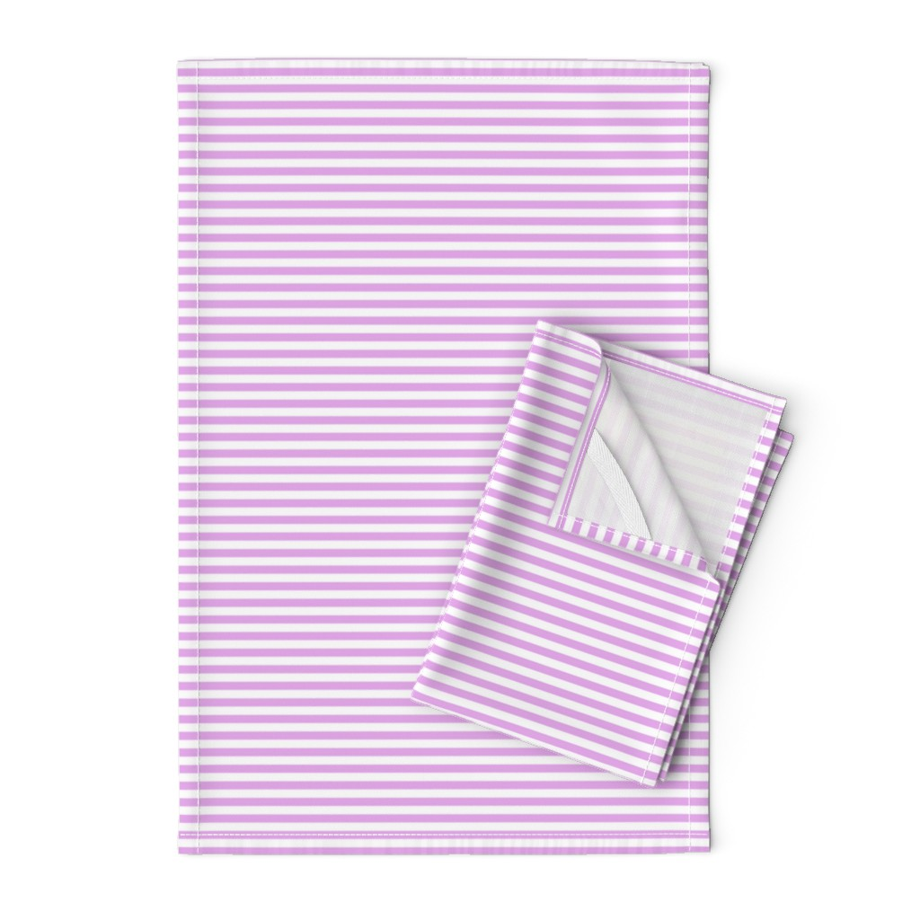 Orpington Tea Towels featuring Blush Pink and White ¼ inch Sailor Horizontal Stripes by paper_and_frill