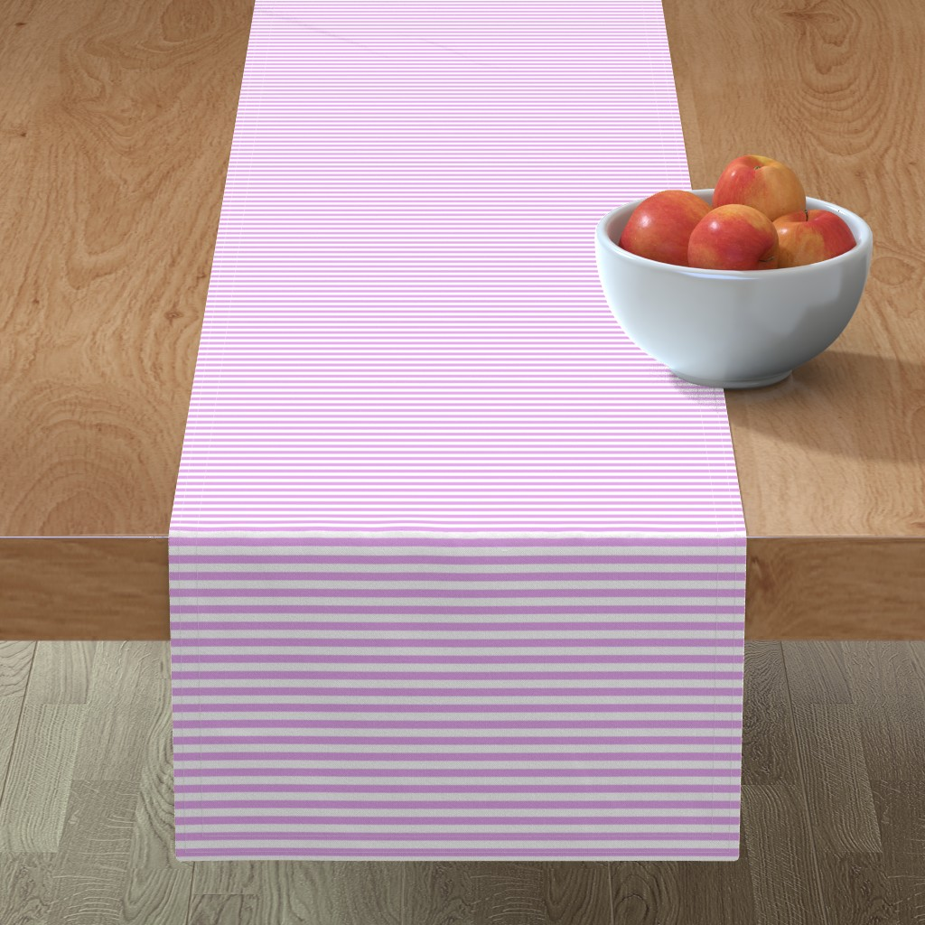 Minorca Table Runner featuring Blush Pink and White ¼ inch Sailor Horizontal Stripes by paper_and_frill