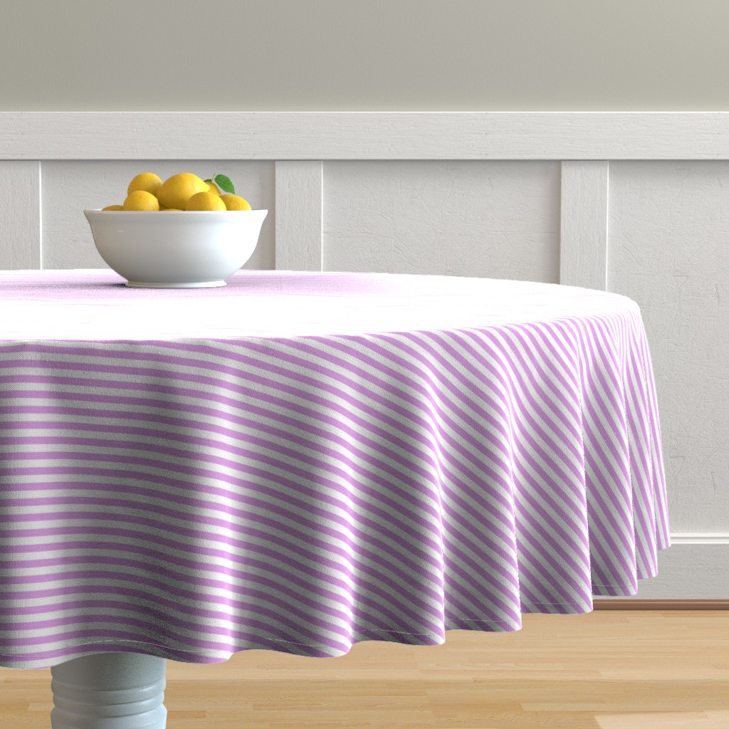 Malay Round Tablecloth featuring Blush Pink and White ¼ inch Sailor Horizontal Stripes by paper_and_frill