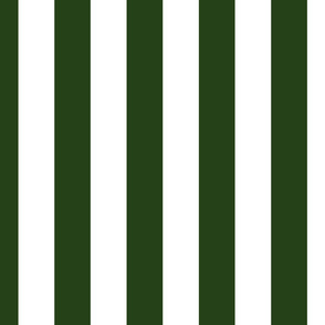 Forest Green and White Wide 2-inch Cabana Tent Vertical Stripes