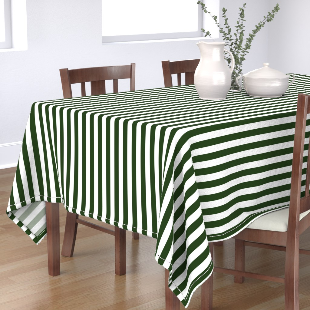 Bantam Rectangular Tablecloth featuring Forest Green and White Big 1-inch Beach Hut Vertical Stripes by paper_and_frill