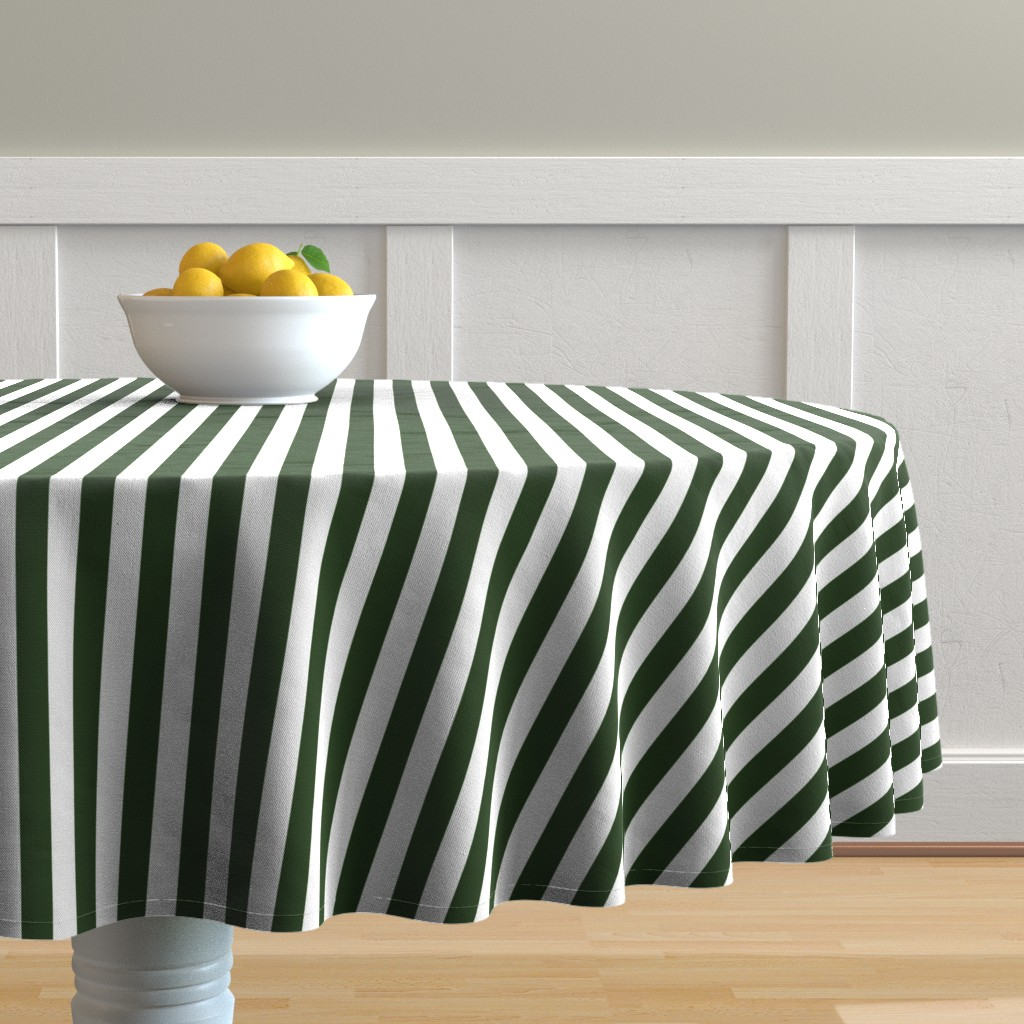 Malay Round Tablecloth featuring Forest Green and White ¾ inch Deck Chair Vertical Stripes by paper_and_frill