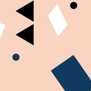 Geometric elements minimal trend design  spring summer abstract for swim peach white pastel JUMBO