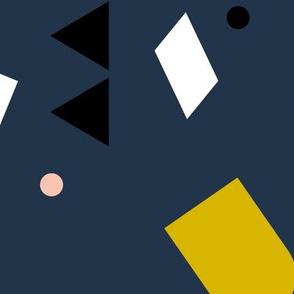 Geometric elements minimal trend design  spring summer abstract for swim navy blue yellow peach JUMBO