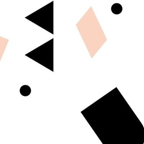 Geometric elements minimal trend design  spring summer abstract for swim black and white peach pink girls JUMBO