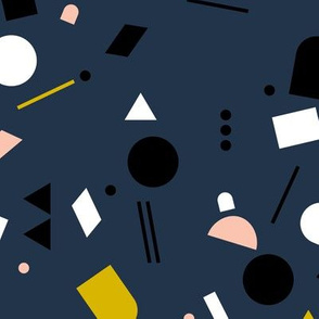 Geometric elements minimal trend design  spring summer abstract for swim navy blue yellow peach