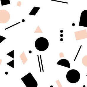 Geometric elements minimal trend design  spring summer abstract for swim black and white peach pink girls