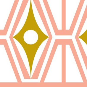 Metro - Midcentury Modern Retro Geometric Fusion Blush Pink & Goldenrod Jumbo Scale