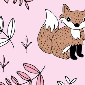 Little fox woodland summer forest and lush green leaves baby nursery design pink girls JUMBO