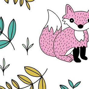Little fox woodland summer forest and lush green leaves baby nursery design pink yellow girls JUMBO