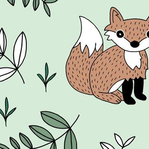 Little fox woodland summer forest and lush green leaves baby nursery design mint boys JUMBO