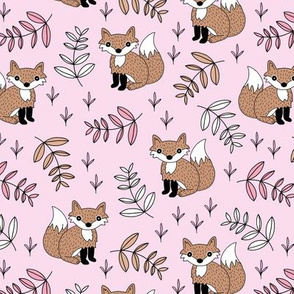 Little fox woodland summer forest and lush green leaves baby nursery design pink girls