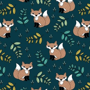 Little fox woodland forest and lush green leaves baby nursery design navy yellow boys