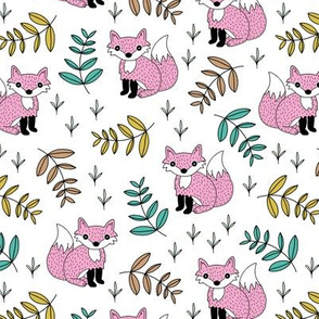 Little fox woodland summer forest and lush green leaves baby nursery design pink yellow girls