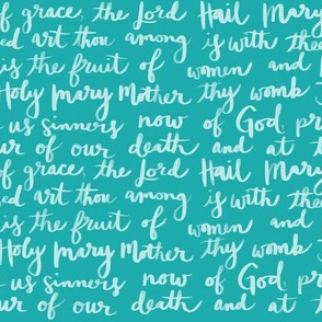 Catholic Hail Mary Prayer Teal