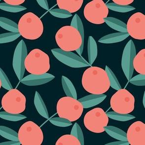 Citrus summer garden fruit and leaves botanical branch tropical spring design peach orange green