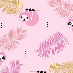 Cute little Sloths and palm leaves summer jungle pura vida design pink girls