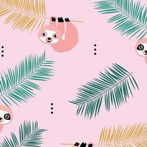 Cute little Sloths and palm leaves summer jungle pura vida design pink green girls