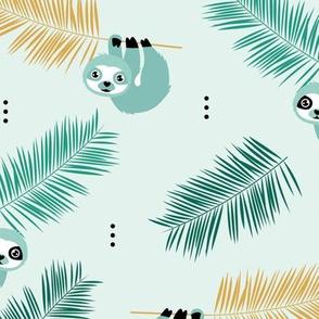 Cute little Sloths and palm leaves summer jungle pura vida design mint boys
