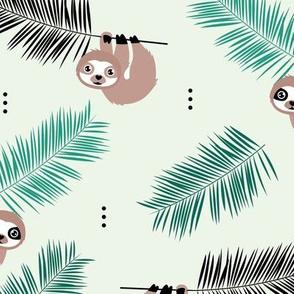Cute little Sloths and palm leaves summer jungle pura vida design mint green boys
