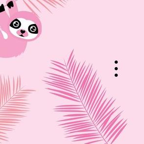 Cute little Sloths and palm leaves summer jungle pura vida irregular illustration design pink girls JUMBO