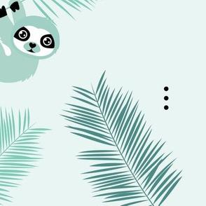 Cute little Sloths and palm leaves summer jungle pura vida irregular illustration design mint boys JUMBO