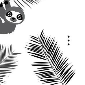 Cute little Sloths and palm leaves summer jungle pura vida irregular illustration design gender neutral gray JUMBO