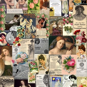 antique cosmetic ads/ natural  and rose