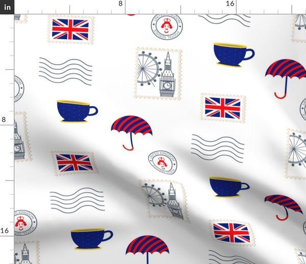 Stoff Meterware Tee Regenschirm Briefmarken England Post Riesenrad Großbritannien Big Ben