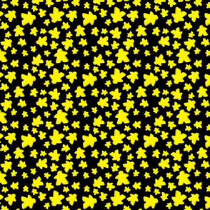 Yellow meeple toss on black