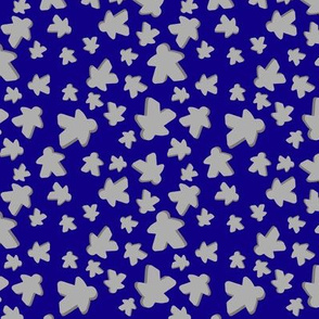 Grey meeple toss on blue
