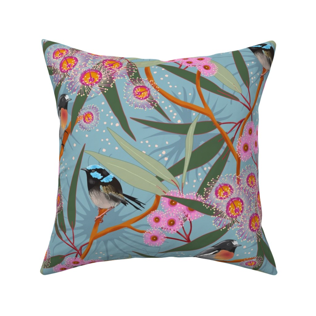 Catalan Throw Pillow featuring Eucalyptus Blue by vinpauld
