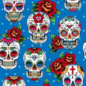 oldschool tattoo sugar skulls blue