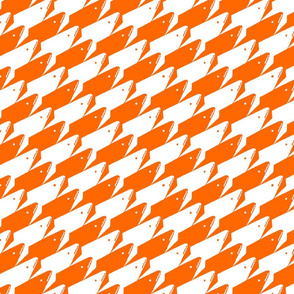 Sharkstooth Sharks Pattern Repeat in White and Orange