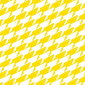 Sharkstooth Sharks Pattern Repeat in White and Yellow