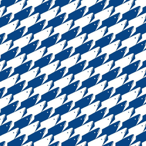 Sharkstooth Sharks Pattern Repeat in White and Blue