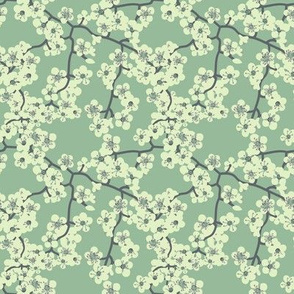 blooming tree in pastel minty color by rysunki_malunki