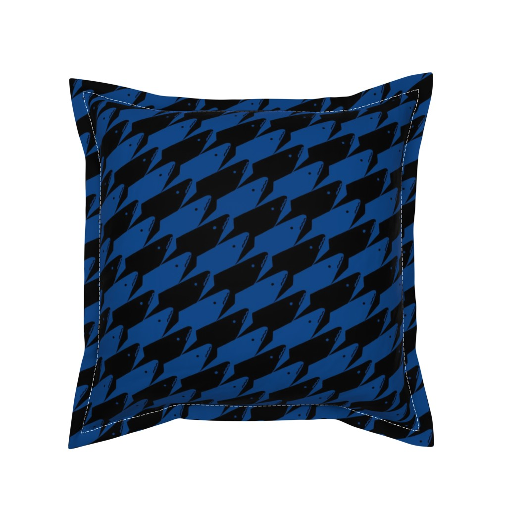 Serama Throw Pillow featuring Sharkstooth Sharks Pattern Repeat in Black and Blue by paper_and_frill