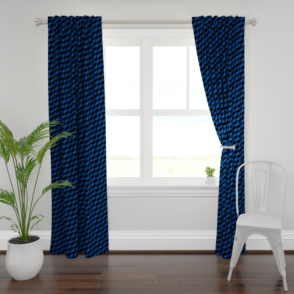 Plymouth Curtain Panel featuring Sharkstooth Sharks Pattern Repeat in Black and Blue by paper_and_frill