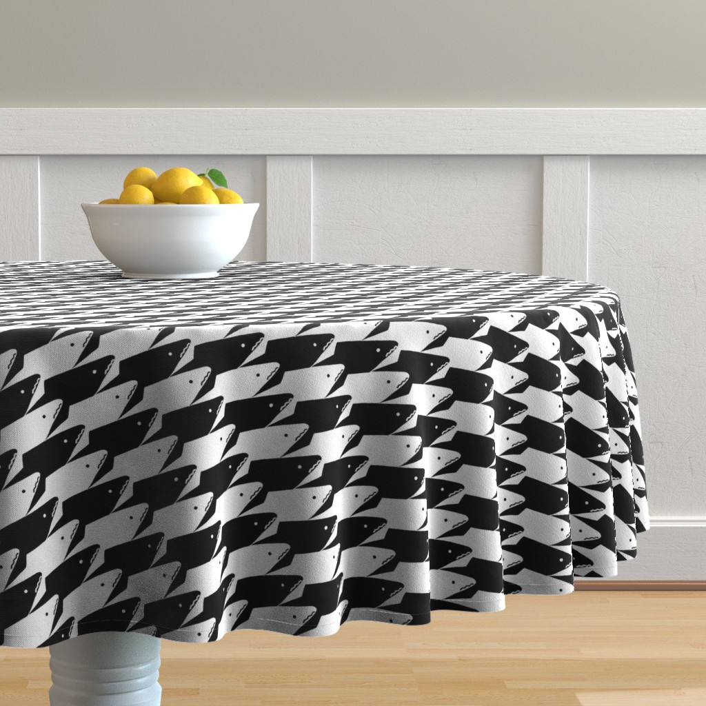 Malay Round Tablecloth featuring Sharkstooth Sharks Pattern Repeat in Black and White by paper_and_frill