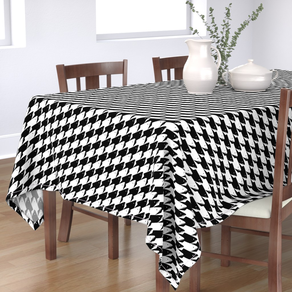 Bantam Rectangular Tablecloth featuring Sharkstooth Sharks Pattern Repeat in Black and White by paper_and_frill