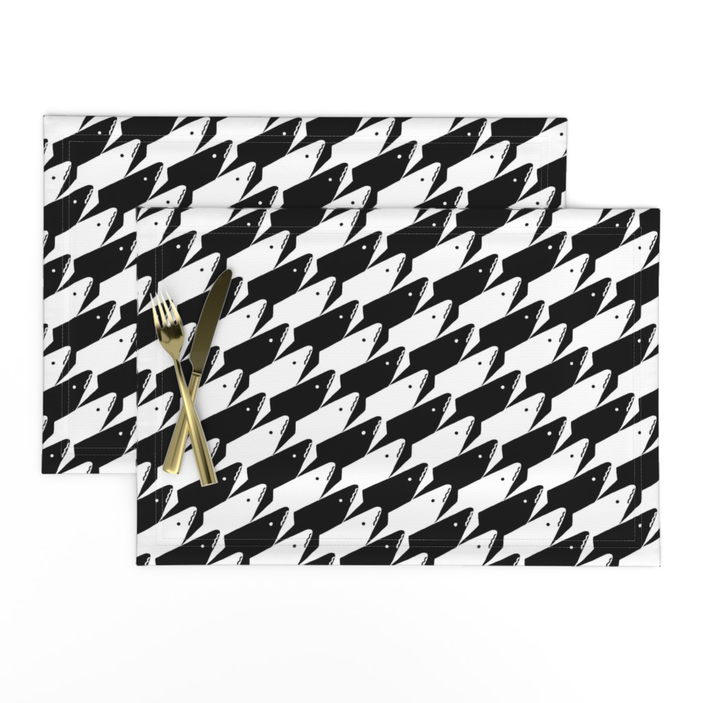 Lamona Cloth Placemats featuring Sharkstooth Sharks Pattern Repeat in Black and White by paper_and_frill