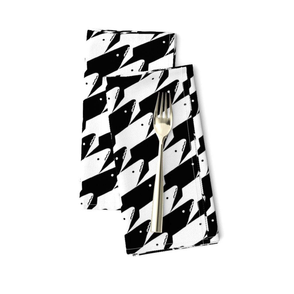 Amarela Dinner Napkins featuring Sharkstooth Sharks Pattern Repeat in Black and White by paper_and_frill